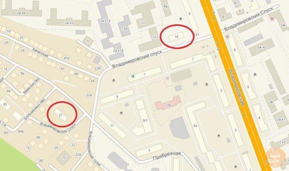 Владимирский спуск, 10 площадью 0,22 га и Владимирский спуск, 21 площадью 0,23 га в Железнодорожном районе