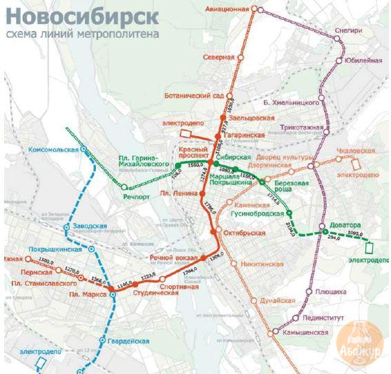 Новосибирск - схема линий метрополитена
