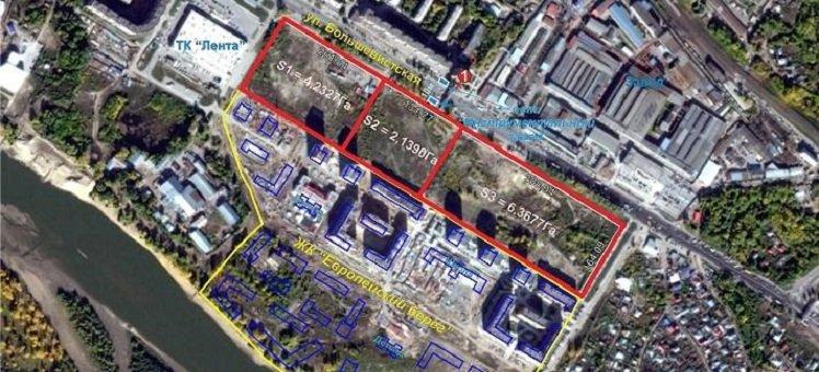Земельный участок 12,37 Га под многоэтажное жилье ул. Большевистская в Октябрьском районе
