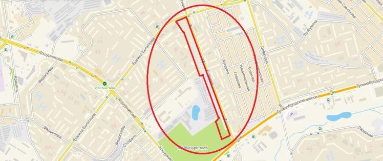 5,76 гектаров земли вдоль всей линии ул. Есенина, от ул. Бориса Богаткова до Никитина