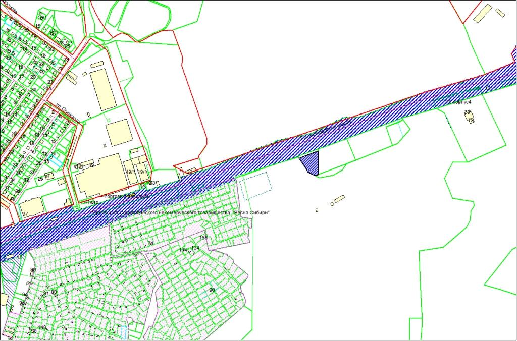 Схема расположения земельного участка по Гусинобродскому шоссе, 74 в Октябрьском районе