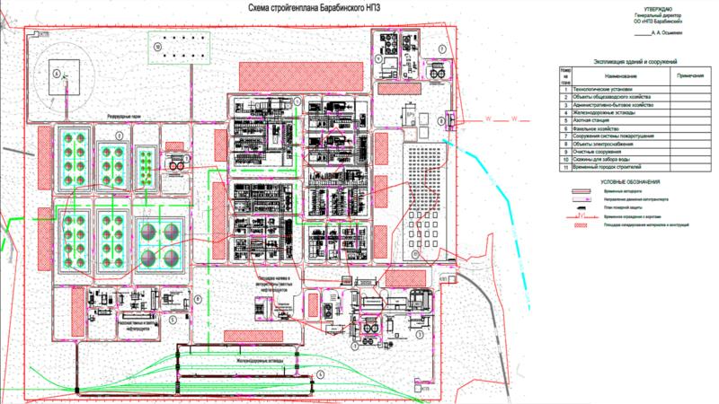 Схема стройгенплана НПЗ «Барабинский»