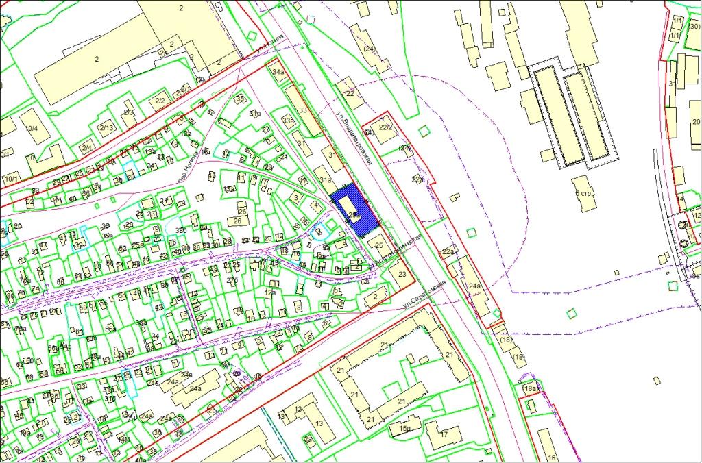 Схема расположения земельного участка по адресу: ул. Владимировская, 29а, Железнодорожный район