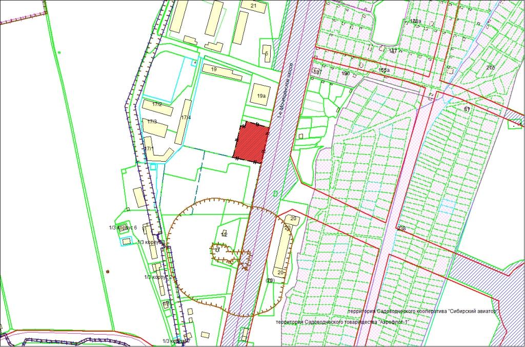 Схема расположения земельного участка по адресу: 1-е Мочищенское шоссе, 17, Заельцовский район