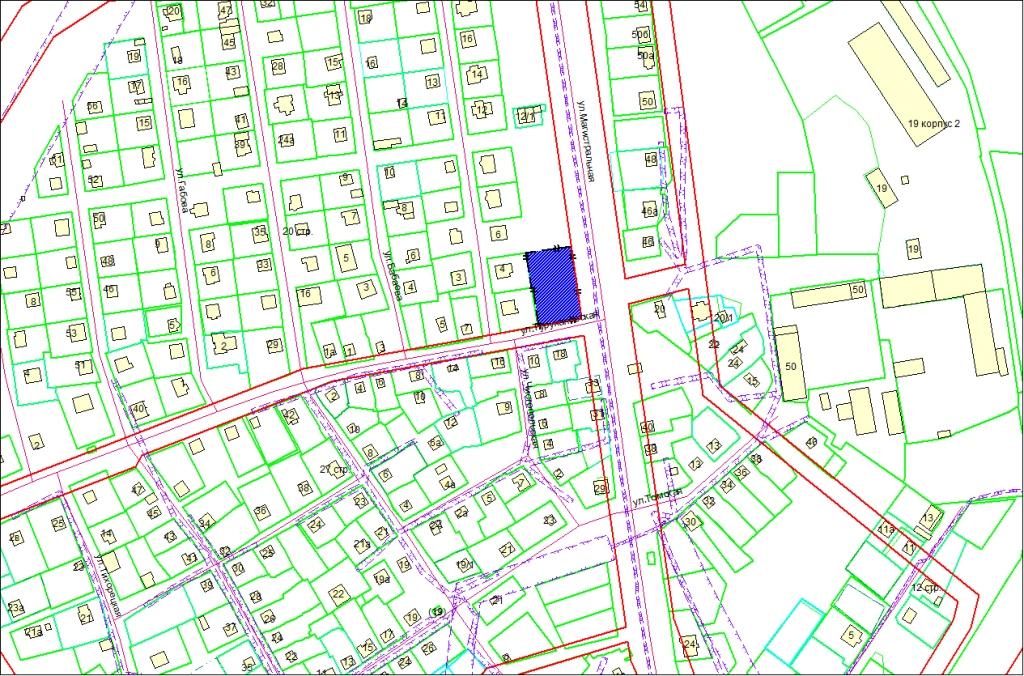 Схема расположения земельного участка по адресу: ул. Магистральная, 35, Калининский район