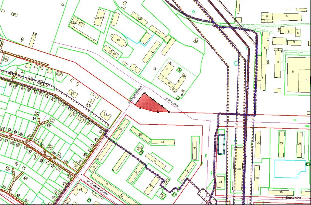 Схема расположения земельного участка по адресу: ул. Часовая, Советский район