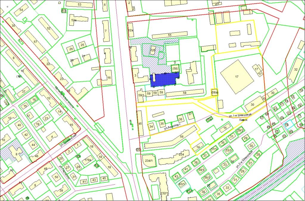 Схема расположения земельного участка по адресу: ул. Аэропорт, 12в, Заельцовский район