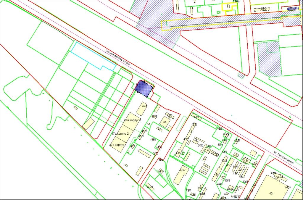 Схема расположения земельного участка по адресу: Толмачевское шоссе, 47б, Ленинский район
