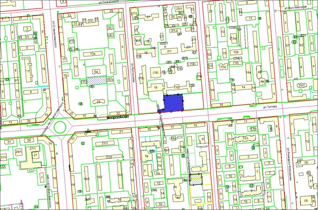 Схема расположения земельного участка по адресу: ул. Титова, з/у 18а, Ленинский район
