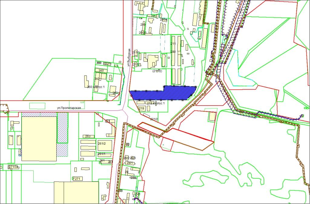 Схема расположения земельного участка по адресу: ул. Выборная, Октябрьский район