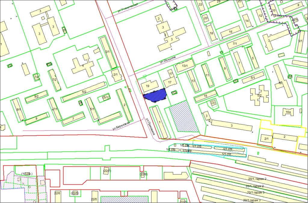 Схема расположения земельного участка по адресу: ул. Пришвина, з/у 1а, Первомайский район