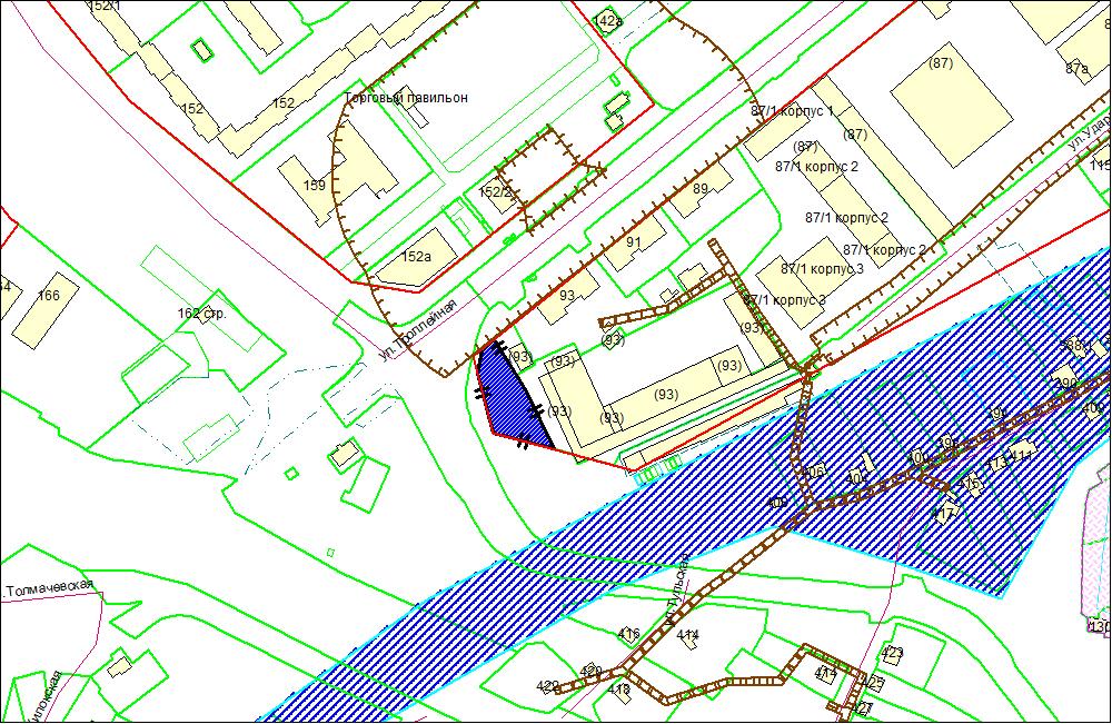 Схема расположения земельного участка по адресу: ул. Троллейная, з/у 93/1, Ленинский район