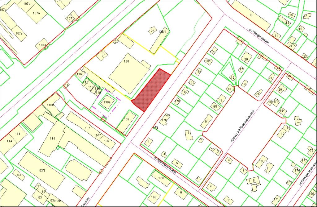 Схема расположения земельного участка по адресу: ул. Грибоедова, з/у 141, Октябрьский район