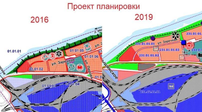 В 2019 году в новом проекте детский сад и поликлиника пропадают, и участок отмечен уже под жилую застройку