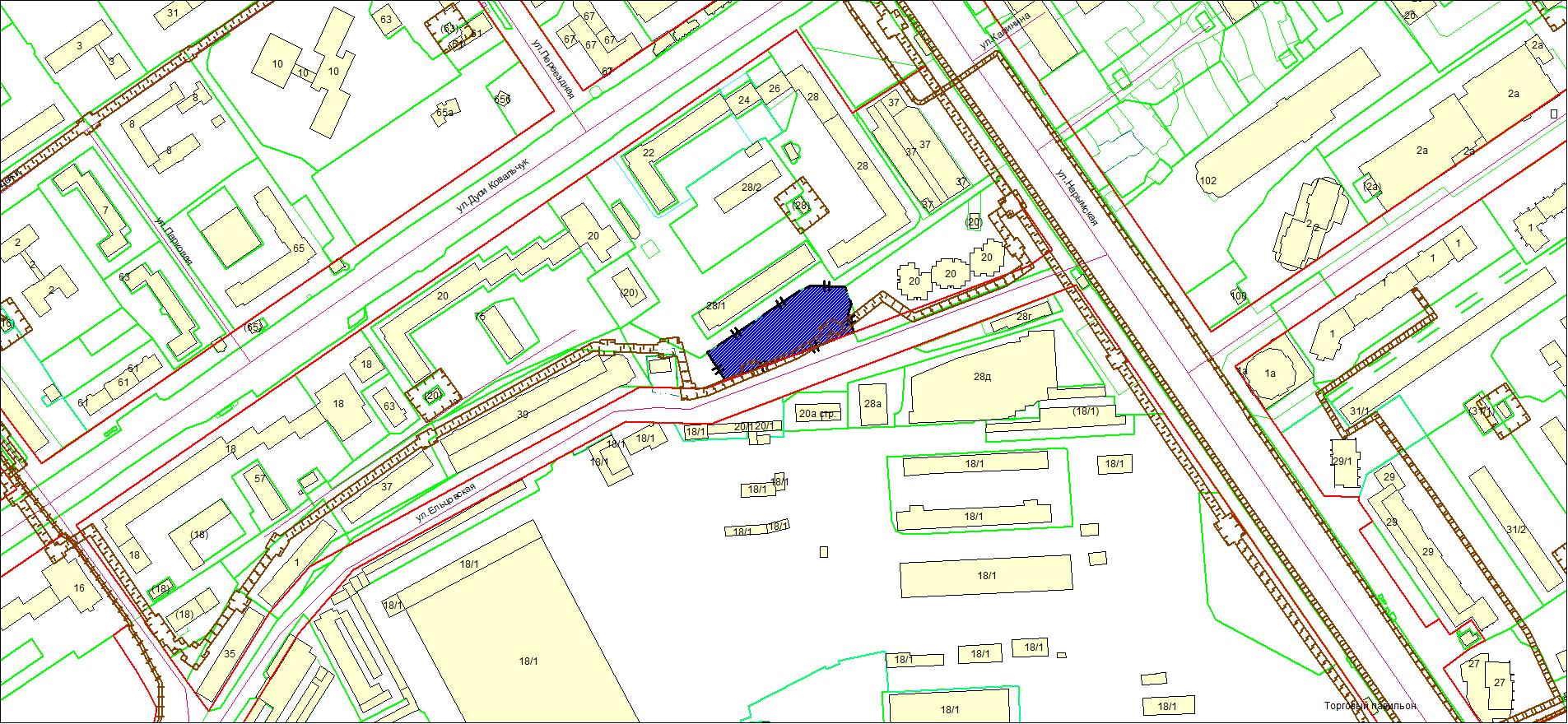 Схема расположения земельного участка площадью 3489 кв. м по адресу: ул. Ельцовская, Заельцовский район