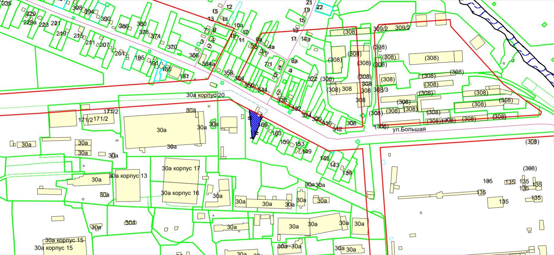 Схема расположения земельного участка по адресу: ул. Большая, з/у 171, Ленинский район