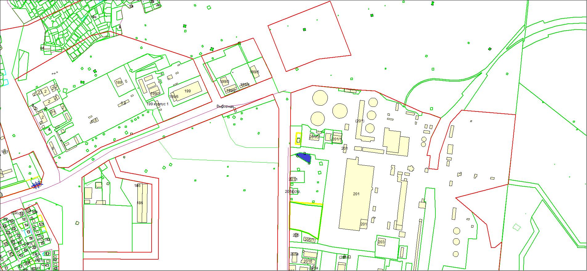Схема расположения земельного участка площадью 2406 кв. м по адресу: ул. Выборная, Октябрьский район