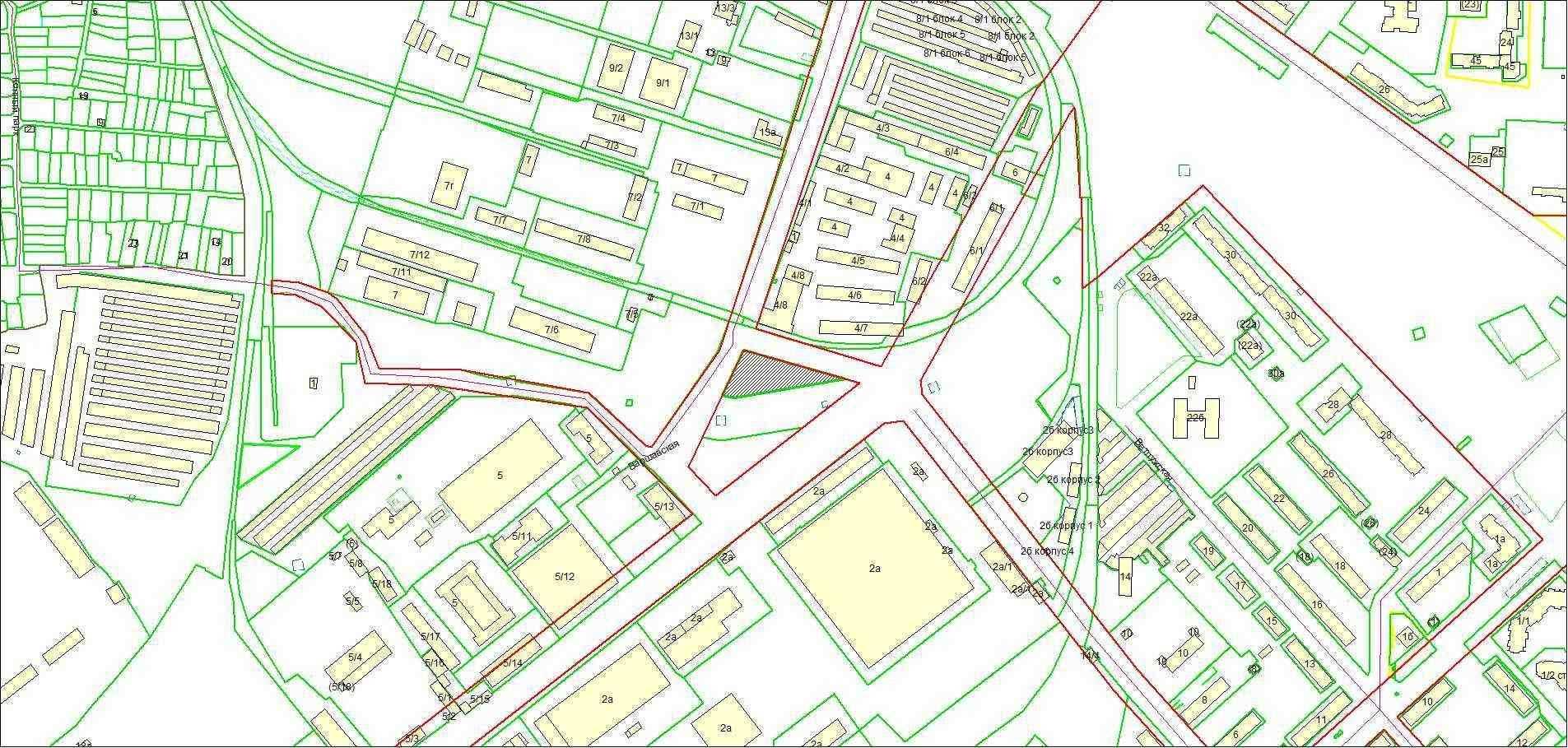 Схема расположения земельного участка площадью 2691 кв. м по адресу: ул. Варшавская, Советский район