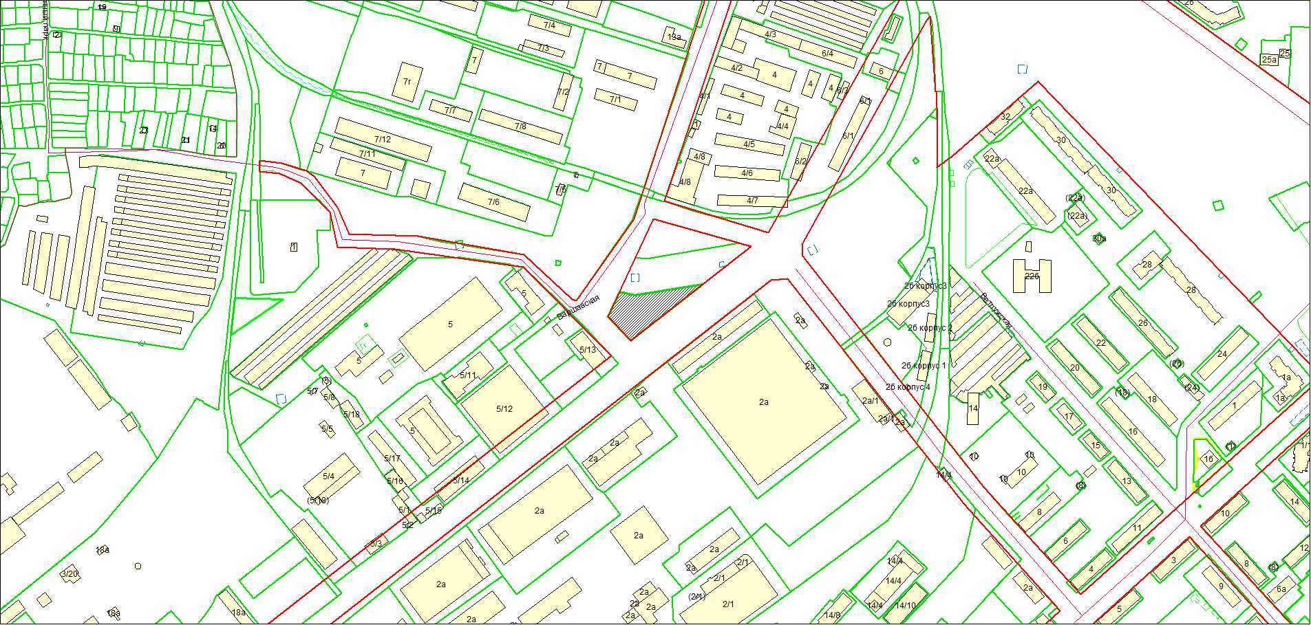 Схема расположения земельного участка площадью 3087 кв. м по адресу: ул. Варшавская, Советский район