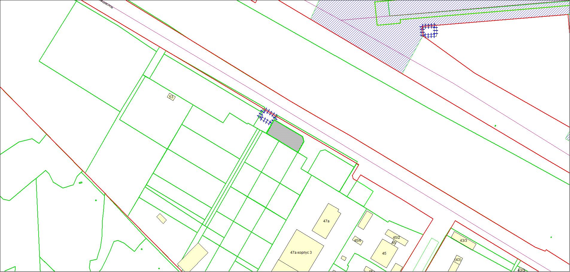 Схема расположения земельного участка площадью 4014 кв. м по адресу: Толмачевское шоссе, 49а Ленинский район