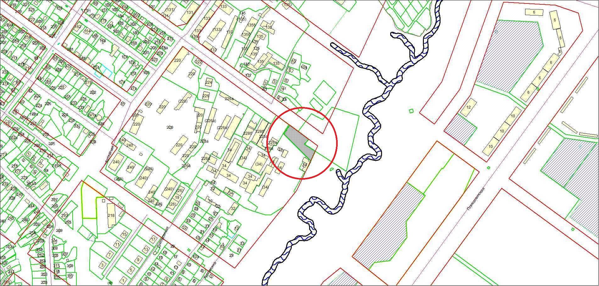 Схема расположения земельного участка площадью 2585 кв. м по адресу: ул. Воинская, 230 Октябрьский район