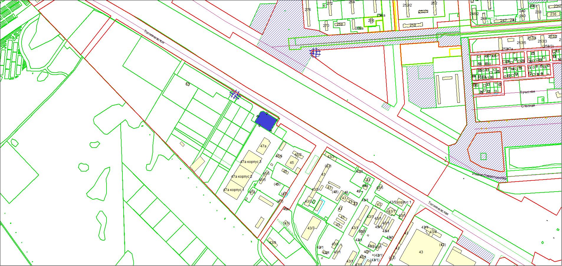 Схема расположения земельного участка площадью 7463 кв. м по адресу: Толмачевское шоссе, 47б, Ленинский район