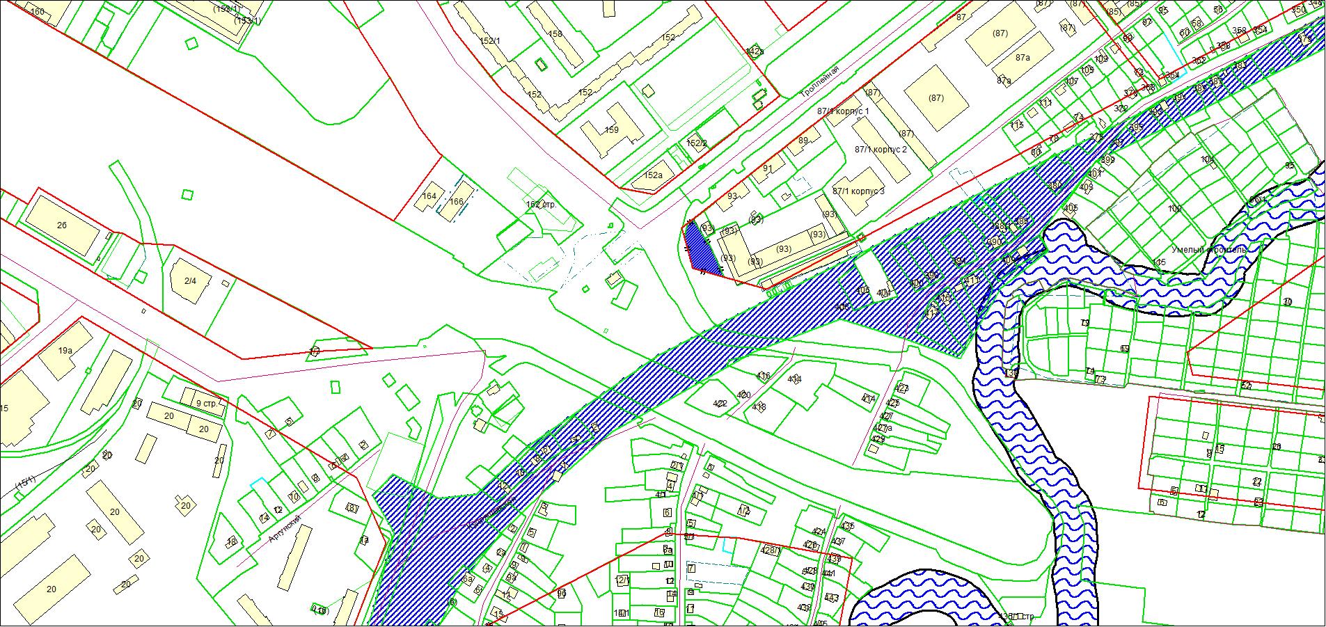 Схема расположения земельного участка площадью 1430 кв. м по адресу: ул. Троллейная, з/у 93/1, Ленинский район