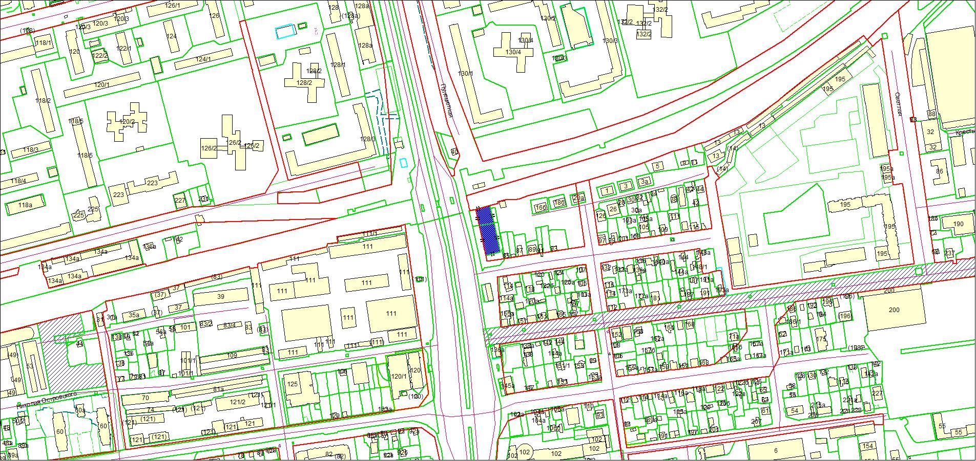 Схема расположения земельного участка площадью 1715 кв. м по адресу: Ипподромская, Центральный район